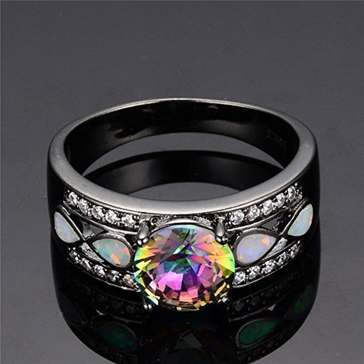 Kissmilk Colorful Opal Rings Rainbow Mysteric Crystal Ladies Black Gold Size 6-10