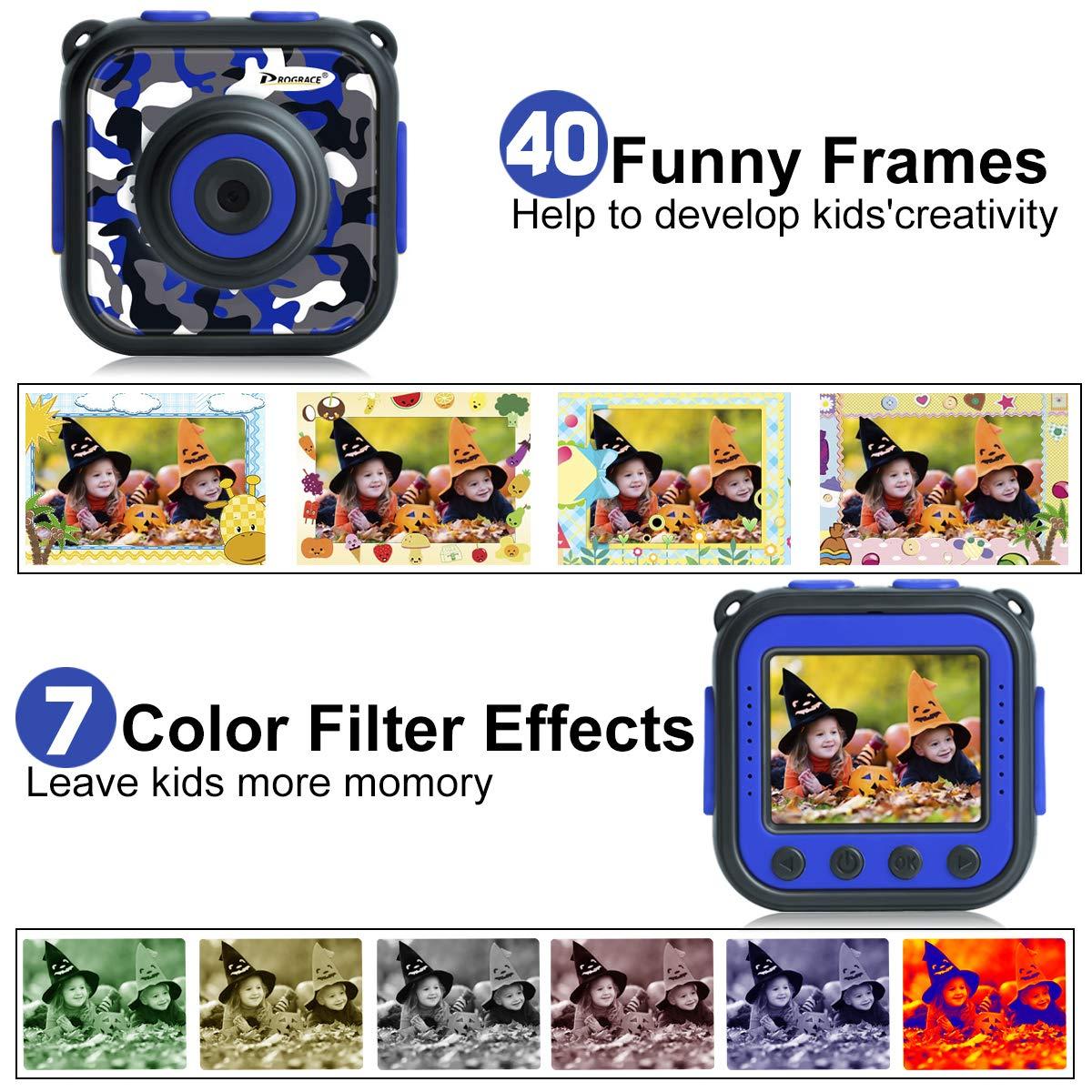 PROGRACE Children Kids Camera Waterproof Digital Video HD Action Camera 1080P Sports Camera Camcorder DV for Boys Birthday Learn Camera Toy 1.77\'\' LCD Screen