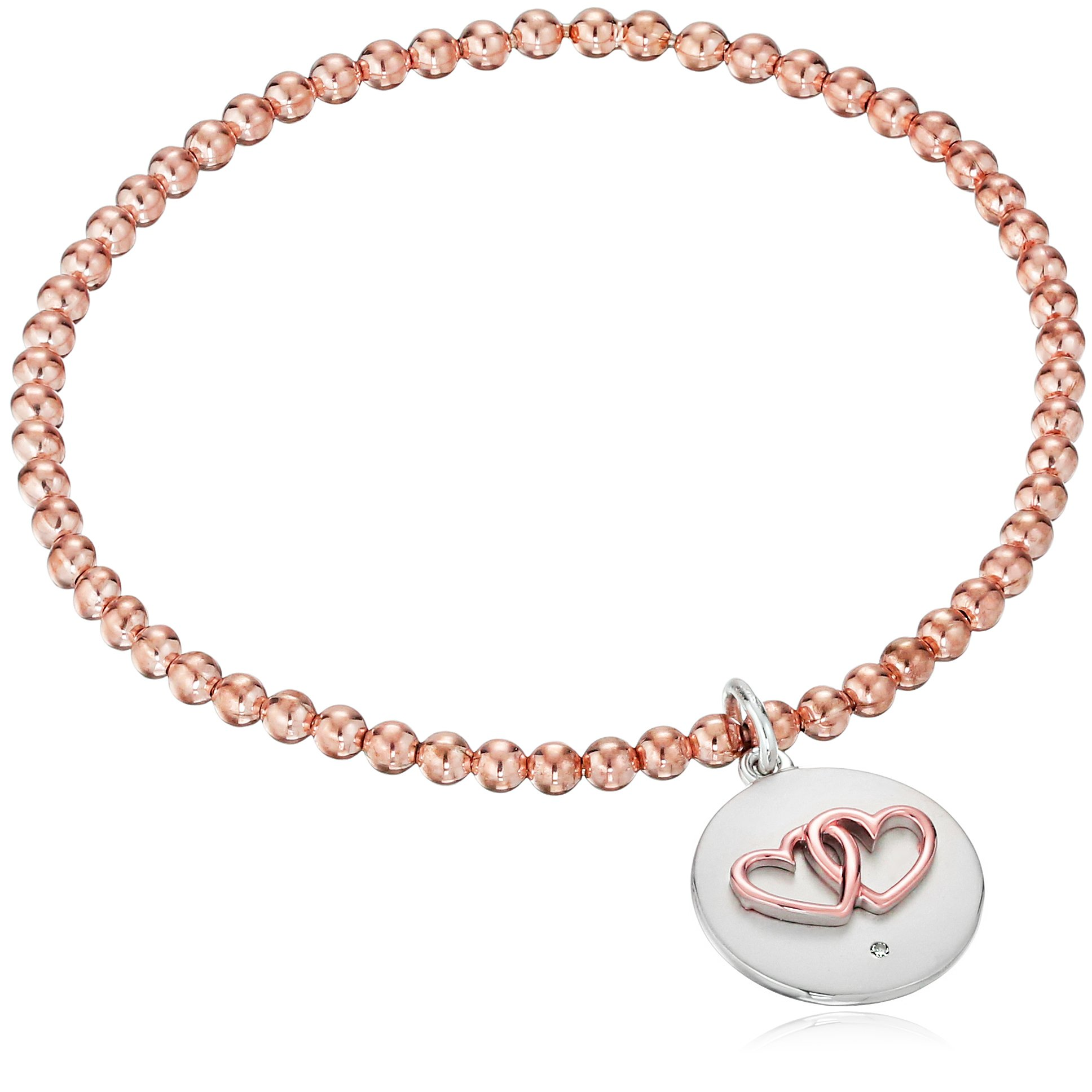 Sterling Silver with Rose Gold Plating Diamond Accent ''Together Forever'' Double Heart Stretch Bead Charm Bracelet