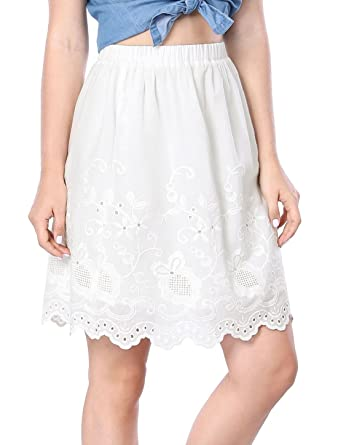 f2228f666 Allegra K Women's Embroidery Elastic Waist Knee Length A Line Skirt XS White