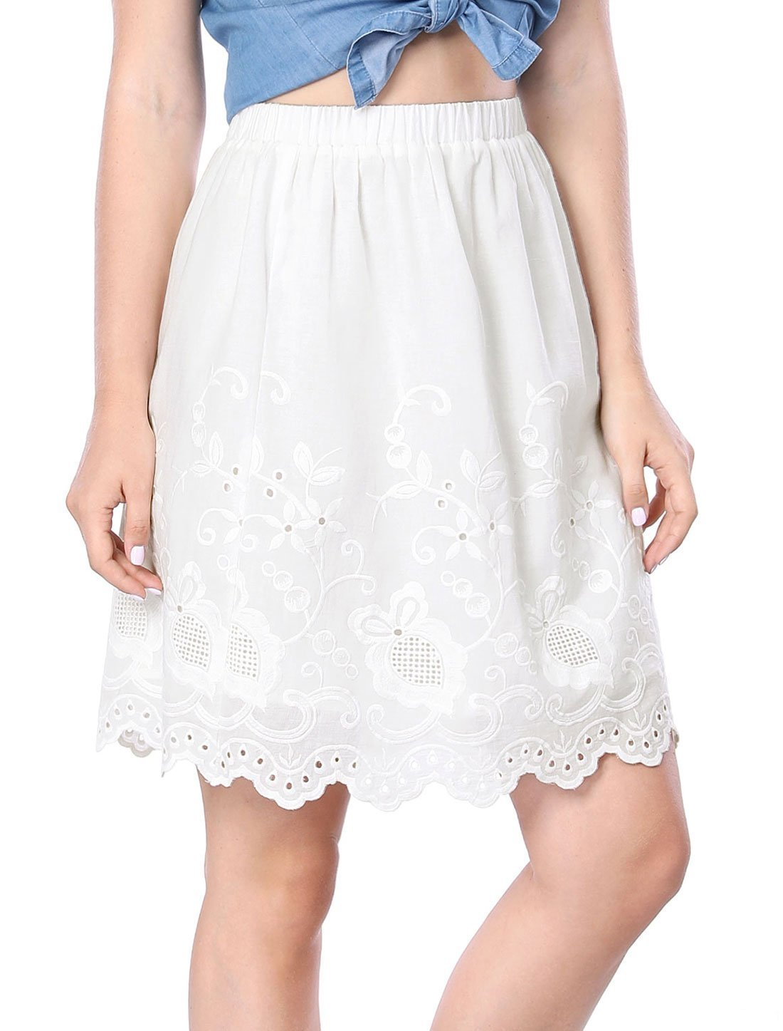 Allegra K Women's Embroidery Elastic Waist Knee Length A Line Skirt XS White