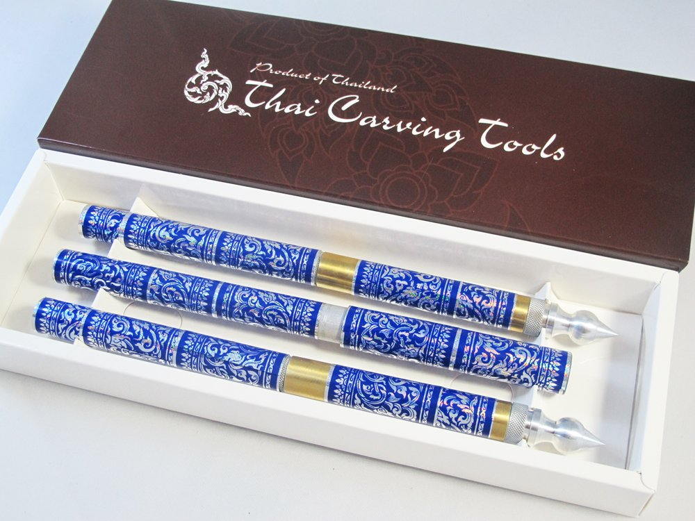 SET 3 THAI FRUIT AND SOAP CARVING KNIFE KNIVES BRASS HANDMADE BLUE COLOR by Unknown (Image #3)