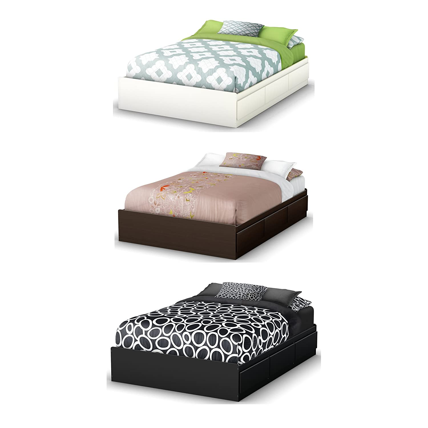Amazon.com: South Shore Storage Full Bed Collection 54 Inch Full Mates Bed,  Chocolate: Kitchen U0026 Dining