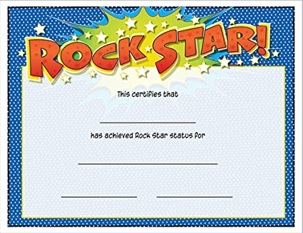 amazon com music treasures co rock star award certificate pack of