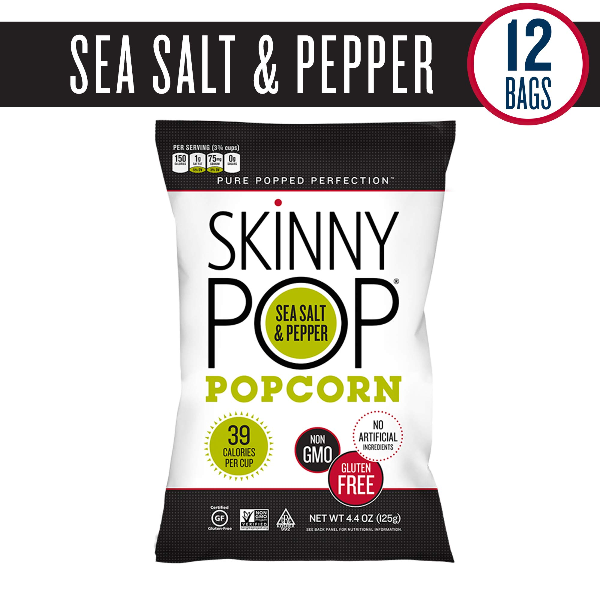 SKINNYPOP Sea Salt & Pepper Popcorn, Individual Bags, Gluten Free Popcorn, Non-GMO, No Artificial Ingredients, A Delicious Source of Fiber, 4.4 Ounce (Pack of 12)