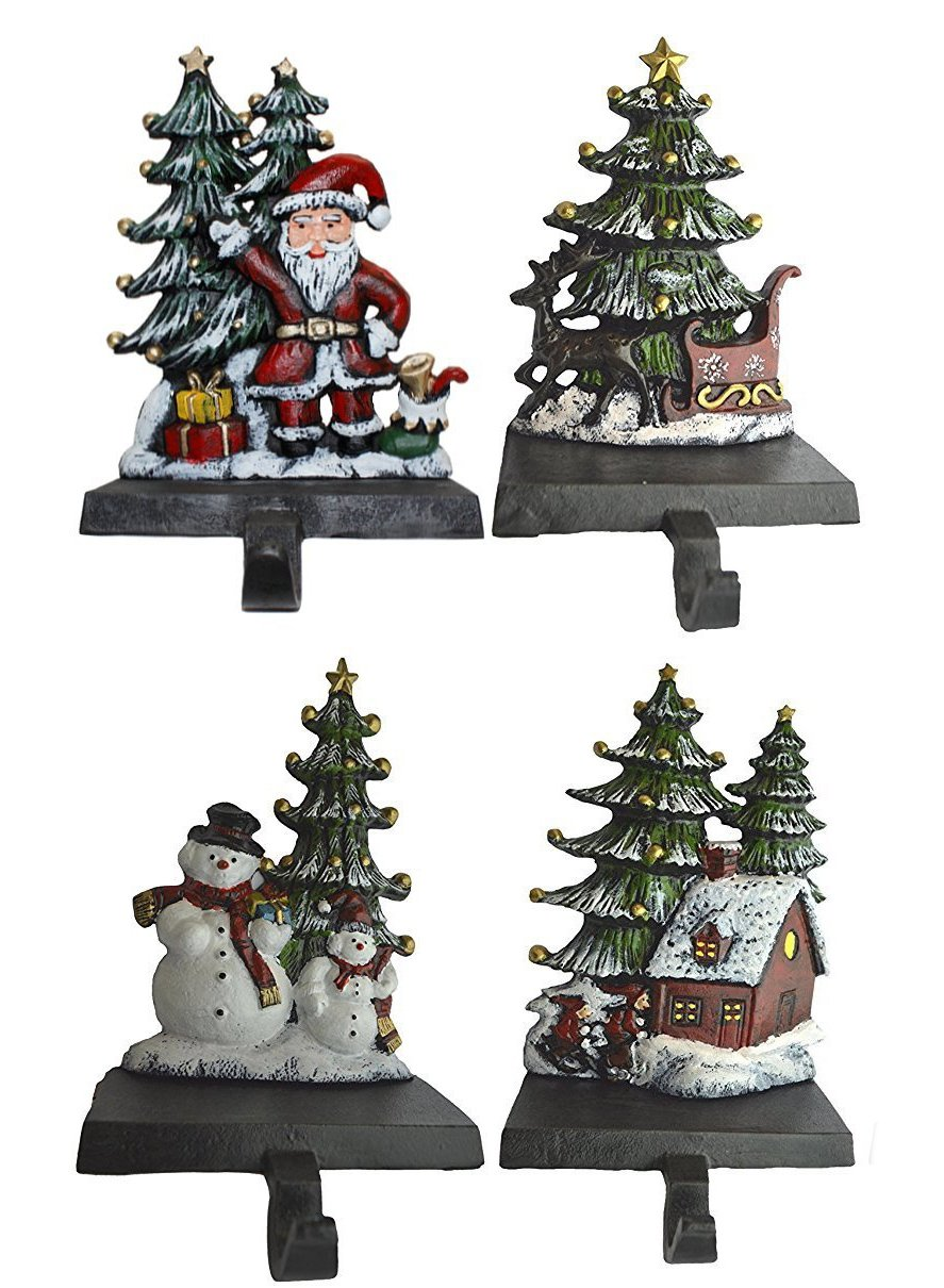 Lulu Decor, Cast Iron Christmas Stocking Holder, Set of 4 hooks, Sleigh with deer, Santa with gifts, House with kids & Snowman with christmas tree (House)