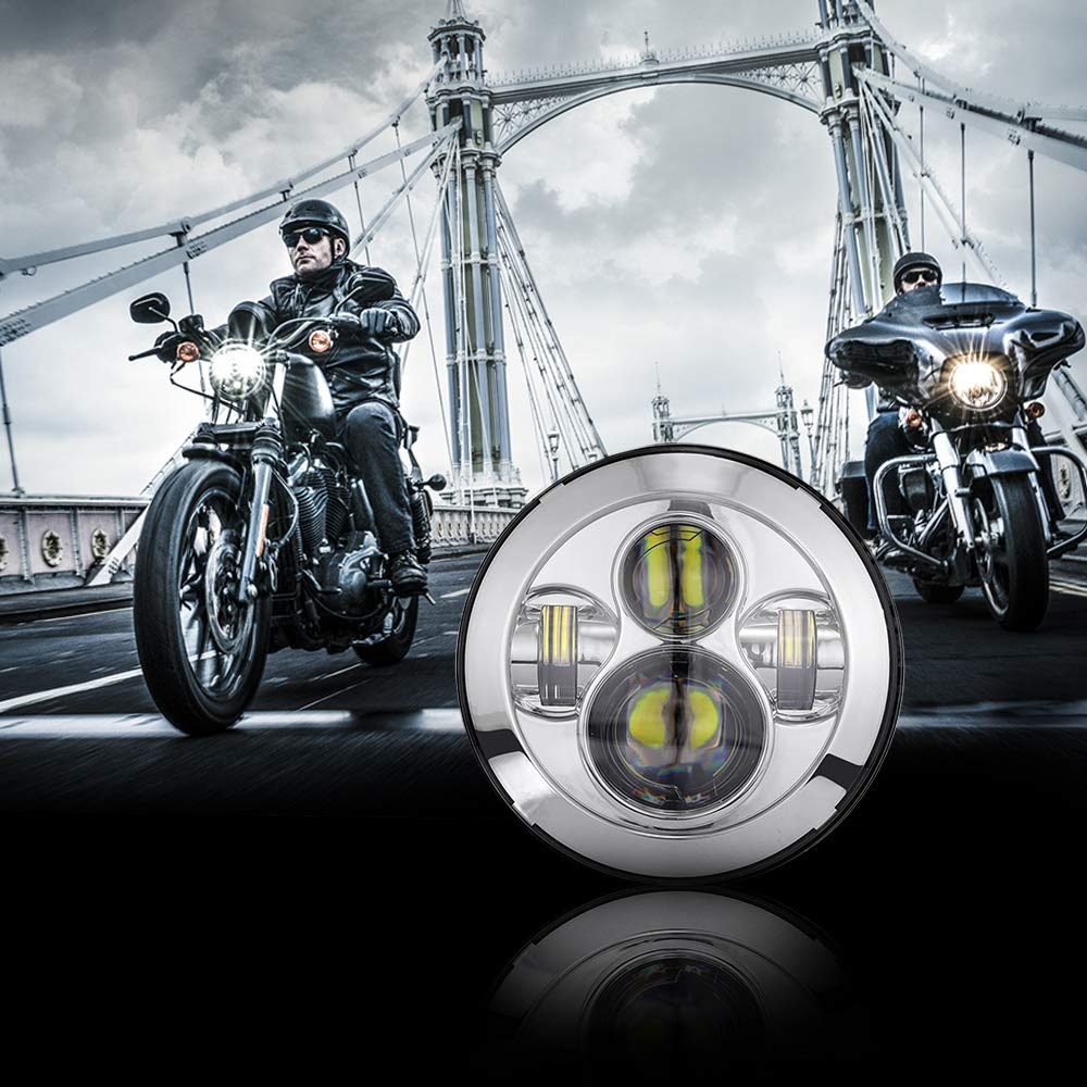 Auxbeam 7 Round LED Headlight 36W LED Driving Lights with Hi-Lo Beam Bulb for Motorcycle Offroad Vehicles Silver
