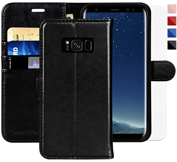 more photos fd1b6 08f5b Galaxy S8 Wallet Case, 5.8-inch,MONASAY [Included Screen Protector] Flip  Folio Leather Cell Phone Cover with Credit Card Holder for Samsung Galaxy S8