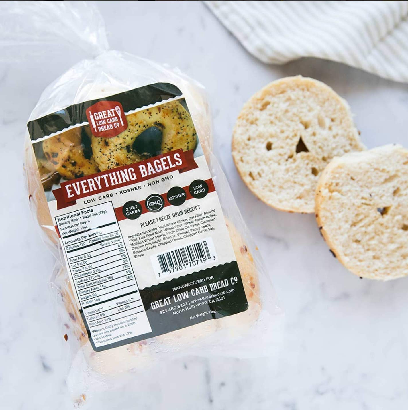 Great Low Carb Everything Bagels 2 Bags by Great Low Carb Bread Company (Image #3)