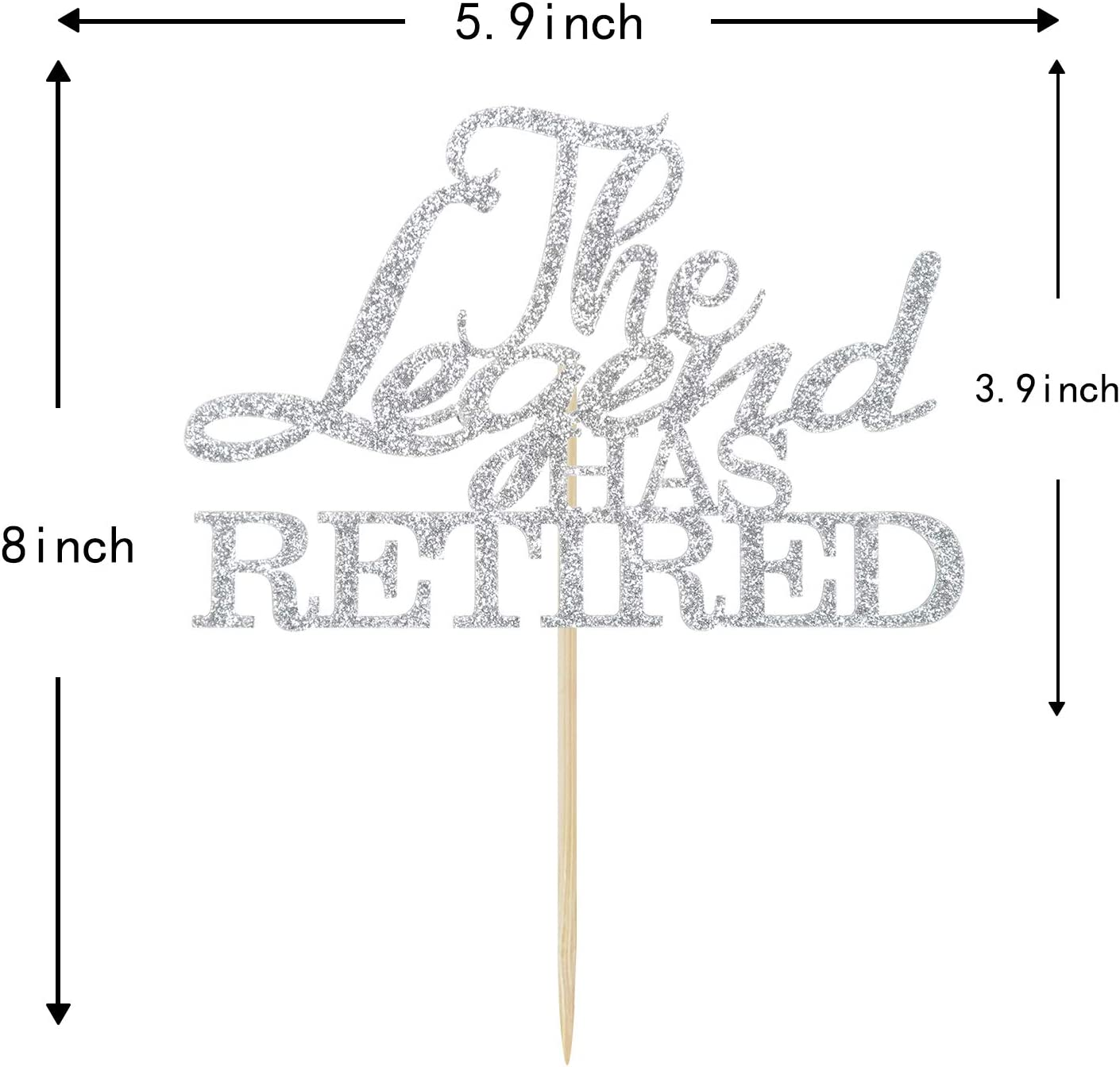 Goodbye Tension Hello Pension Retirement Party Decorations Official Retired Cake Decor Rose Gold Glitter The Legend Has Retired Cake Topper