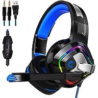 ZIUMIER Auriculares Gaming con Microfono para PS4, PC, Xbox One, Cascos Gaming con RGB LED, Bass Surround y Cancelación de Ruido, Control de Volumen