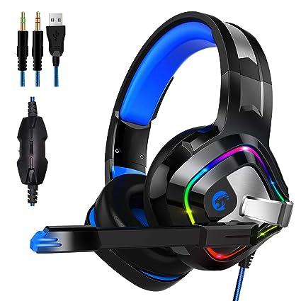 ZIUMIER Auriculares Gaming con Microfono para PS4, PC, Xbox One, Cascos Gaming con