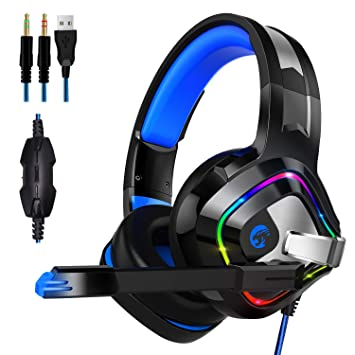 ZIUMIER Auriculares Gaming con Microfono para PS4, PC, Xbox One, Cascos Gaming con