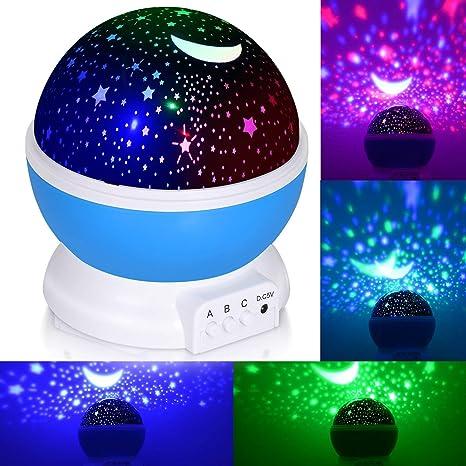 Adoric Proyector Lámpara De Dormir Lámpara Infantil Lámpara Proyector Infantil 360 Grados De Rotación 3 Modo de Luz De Proyector De Estrella Regalo ...