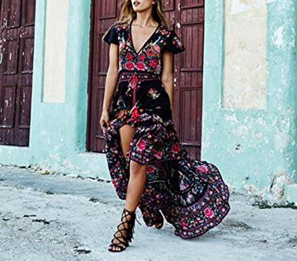 Lovely-Shop Vintage Summer Boho Dress Etehnic Sexy Print Dress Tassel Beach Bohemian Hippie Dress