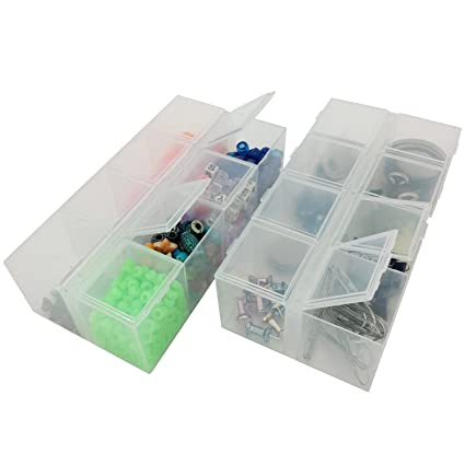 Set of 2 Storage Containers - Organize Small Items 8 Clear Compartments Impact Resistant  sc 1 st  Amazon.com & Amazon.com: Set of 2 Storage Containers - Organize Small Items 8 ...