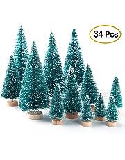 Cozyhoma 34 Piezas de Mini árboles de Navidad para decoración de Mesa de árbol de Navidad