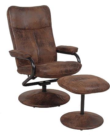 f247b0f595a937 CARO-Möbel Relaxsessel Fernsehsessel Dakota mit Hocker im Wildleder Look  braun 360 Grad drehbar