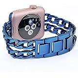 Apple Watch Armband, PUGO TOP Solides Edelstahl Cowboy Art Gliederarmband für Apple Watch Serie 2 und Serie 1 Alle Modelle, 38mm Blau