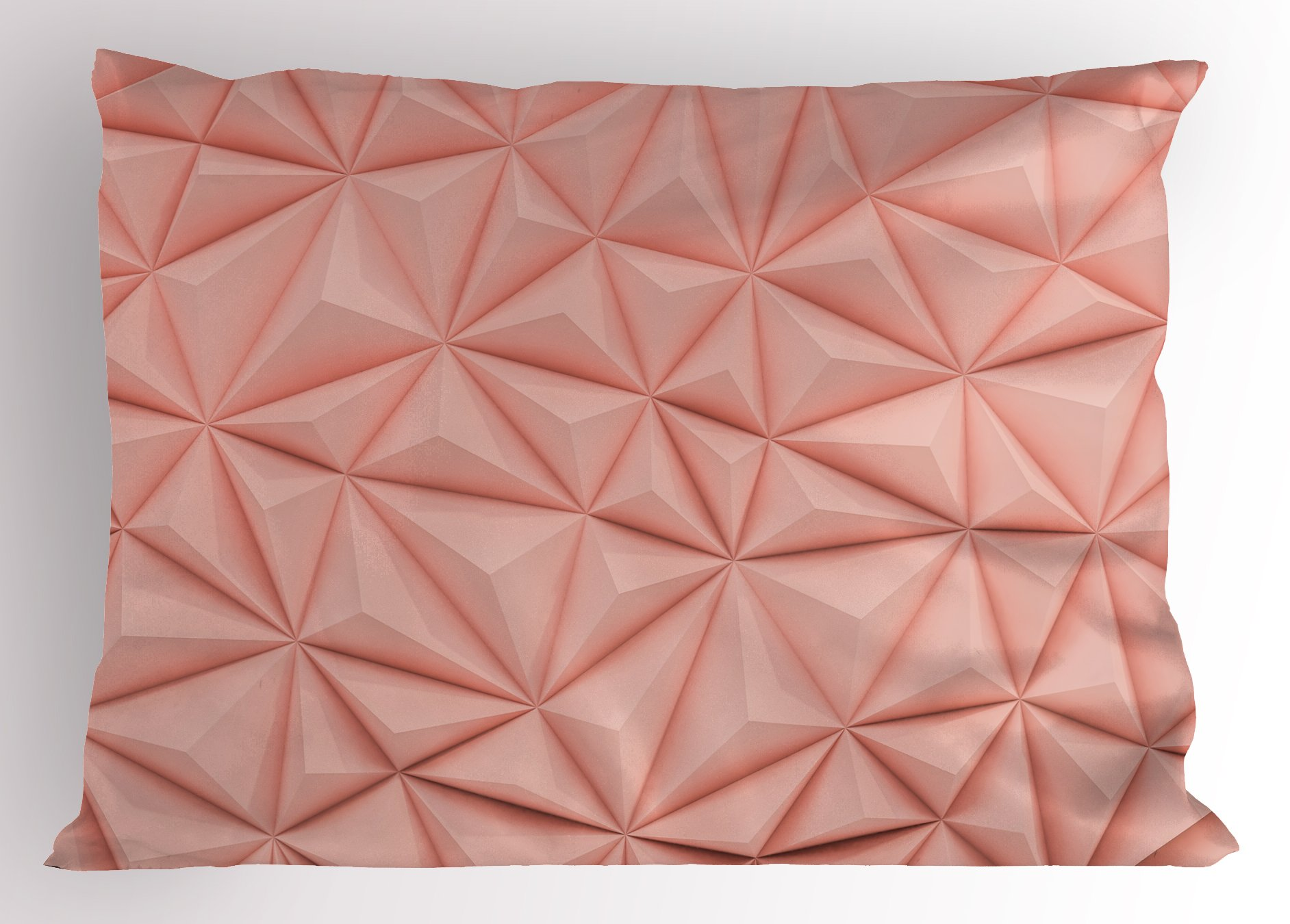Lunarable Dusty Rose Pillow Sham, Abstract Triangle 3D Style Mosaic with Poly Effect Futuristic Technology Themed, Decorative Standard King Size Printed Pillowcase, 36 X 20 inches, Dusty Rose