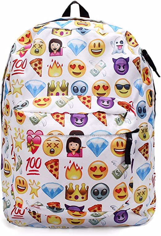 King Do Way, zaino in tela con emoji per la scuola, per
