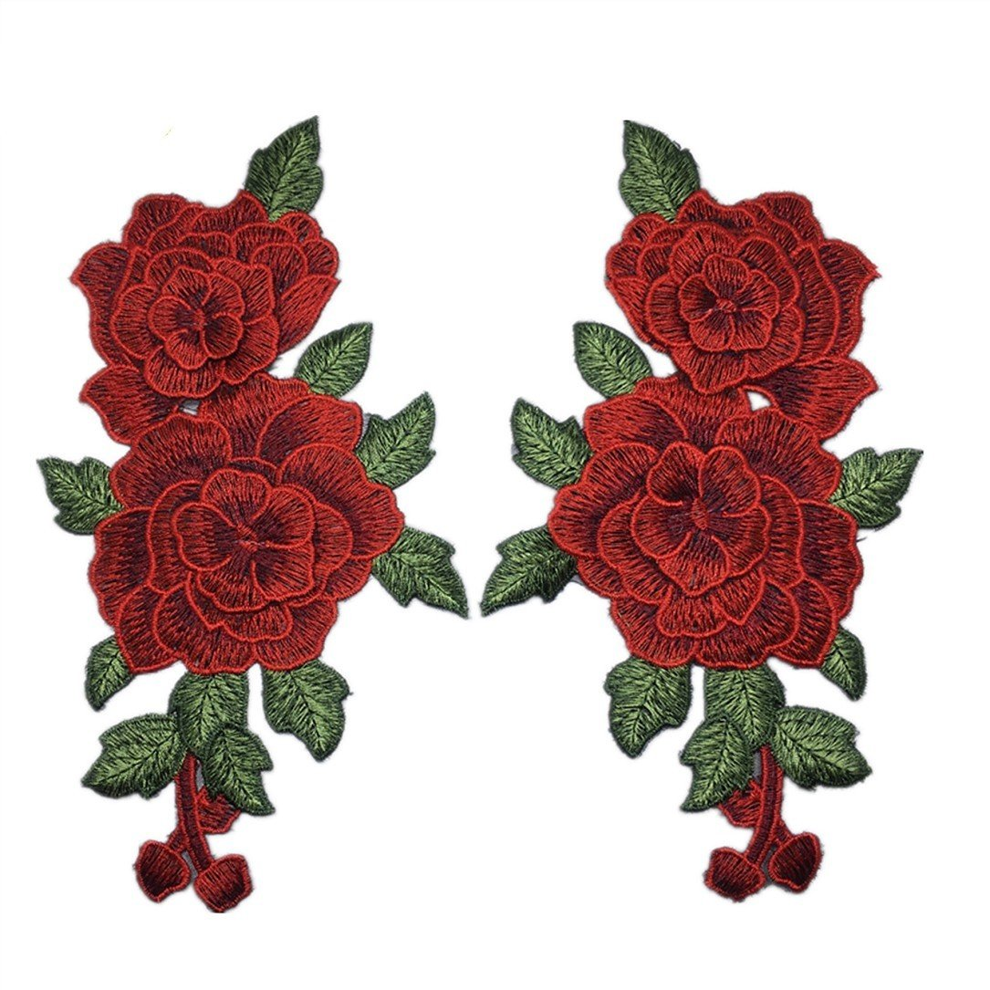 YABINA 2PC 9x 5.11 Inch 3D Embroidery Rose Flower Iron on Sew on Patches Embroidery Applique Patches for Jeans, Neckline Collar Bust Dress, Clothing, Bags (Blue)