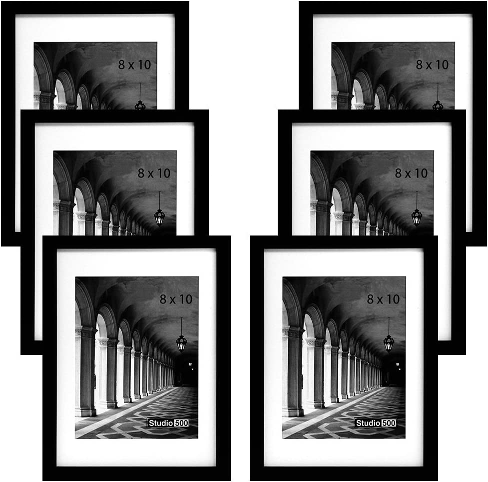 Studio 500, 8 by 10-inch, Traditional Collection, Sturdy Serene Frames Black (SGL), Made to Display Pictures Comes with a 5x7 Matt-6-PACK