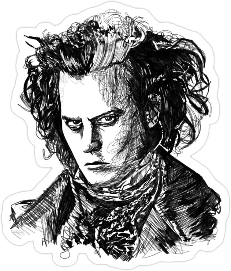 (3 PCs/Pack) Sweeney Todd 3x4 Inch Die-Cut Stickers Decals for Laptop Window Car Bumper Helmet Water Bottle