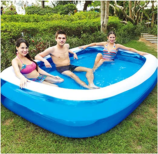 SEYE1° Piscina Hinchable/Rectángulo sobre El Suelo Piscina Jardín Juegos Acuáticos para Toda La Familia Azul: Amazon.es: Jardín