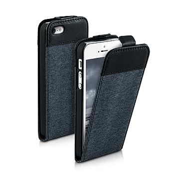 kwmobile Funda para Apple iPhone SE / 5 / 5S - Carcasa de [Cuero sintético] y [Tela] - Case [Plegable] en [Gris Oscuro/Negro]
