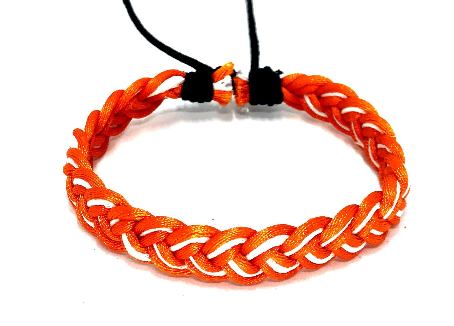 LAVIP Leather Handmade Men's Women's Cotton Funtasy Style Jamaican Bob Marley Wristband Bracelet (Orange)