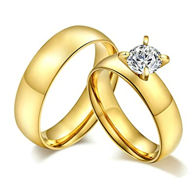 Aooaz Couples Rings Gold Plated Stainless Steel Gold Rings For His Hers Women Rings 6MM Women