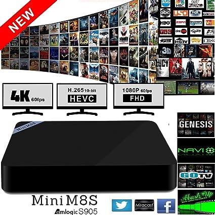 Mini M8S Android 5.1 Smart TV Box, Quad-Core CPU (Cortex A53) Amlogic S905, DDR3 de