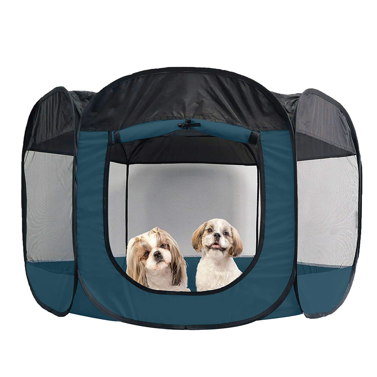 Furhaven Pet Playpen Indoor Outdoor Mesh Open Air Playpen And Exercise Pen Tent House Playground For Dogs And Cats Sailor Blue Extra Large Pet Supplies
