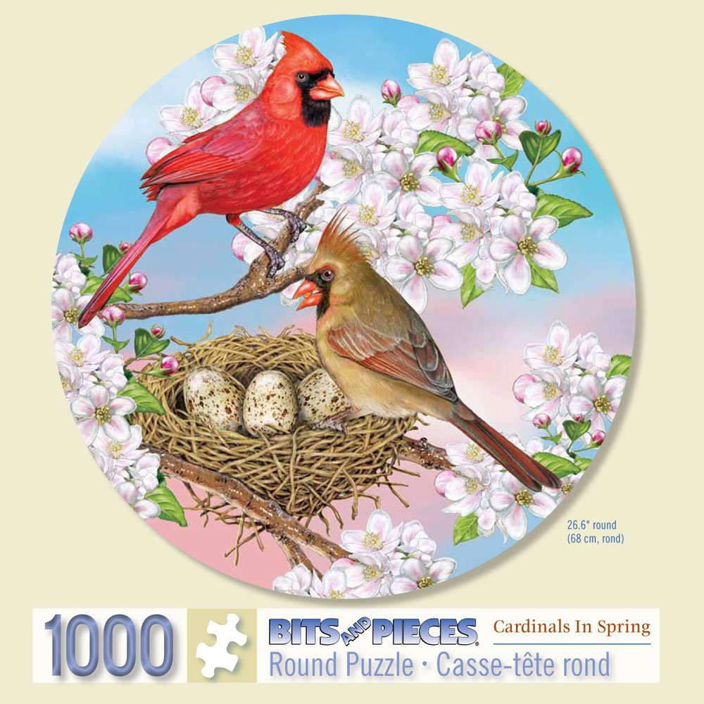 Bits and Pieces - 1000 Piece Round Puzzle - Cardinals in Spring - by Artist Rosiland Solomon - 1000 pc Bird Jigsaw