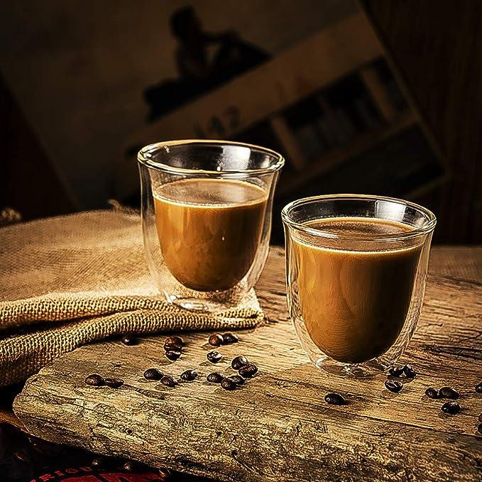 CMXING Tazas de café de Pared Doble Copas Tazas de café ...