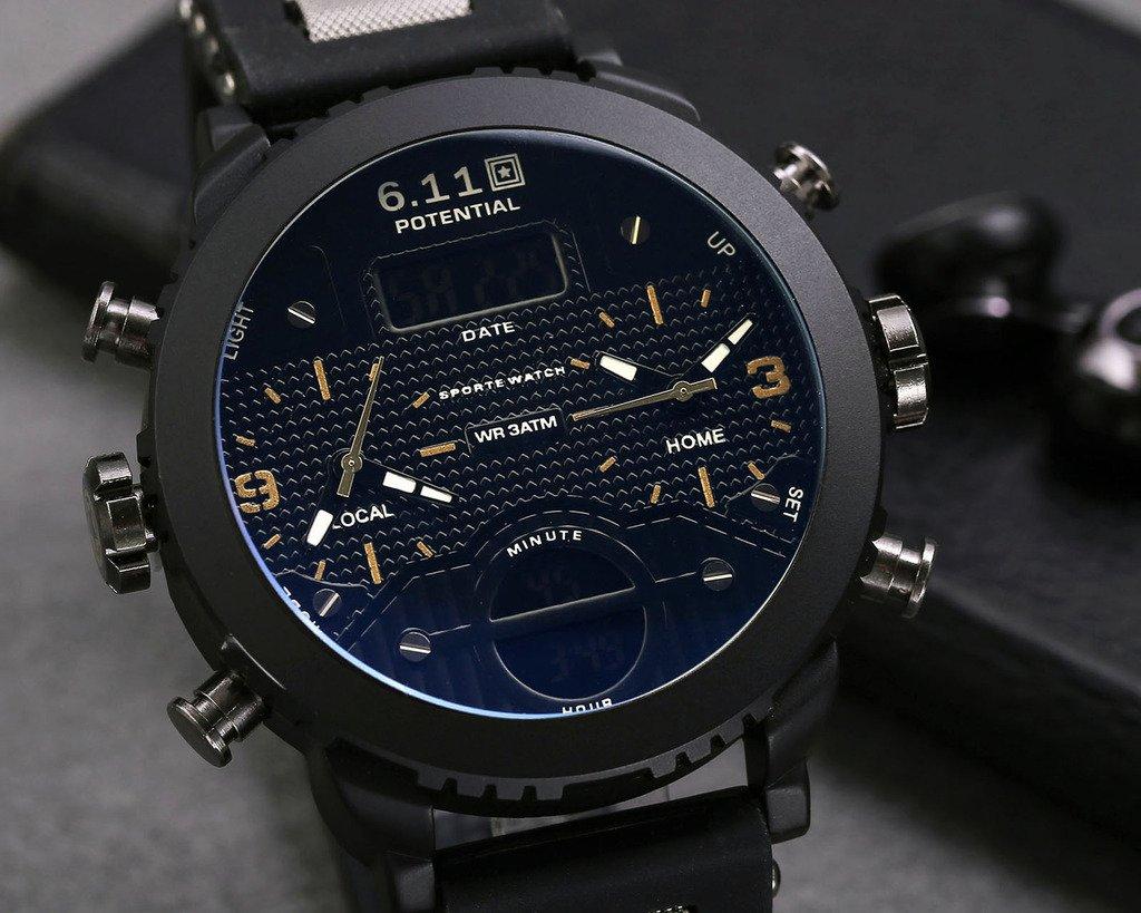 JSDDE hommes montre-Bracelet chronographe LCD Digital + Dual mouvement quartz Calendrier 3 Time Zone 3ATM montre multifonction(NO.QY24-11)