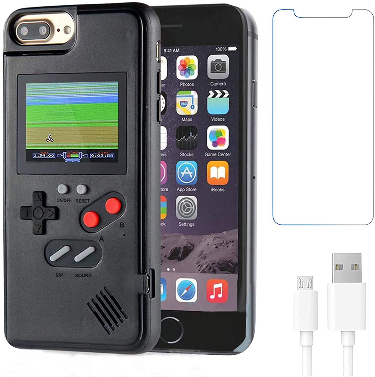 Gameboy Case for iPhone 6 Plus/ 6s Plus/ 7 Plus/ 8 Plus,Handheld Retro 36 Classic Games,Color Video Display Game Case for iPhone,Anti-Scratch Shockproof Phone Cover for iPhone WeLohas