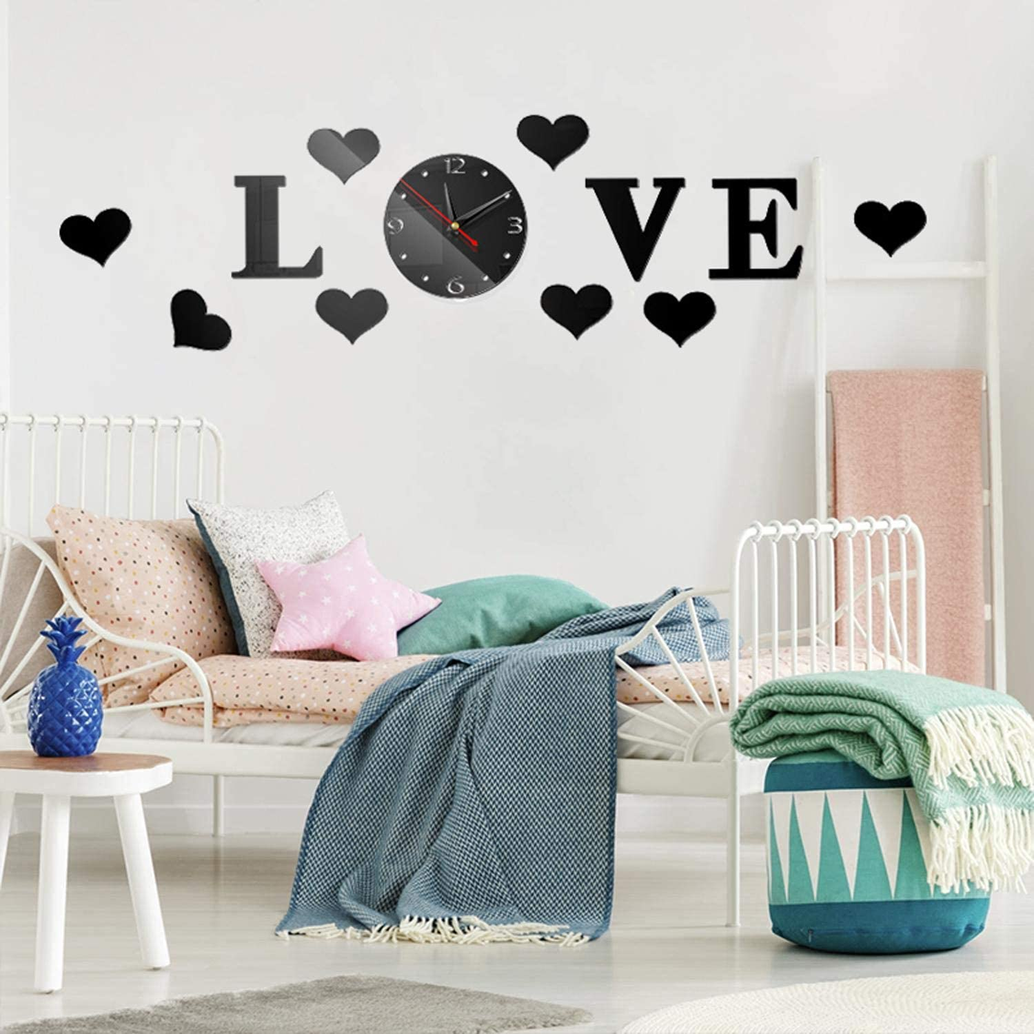 HOODDEAL DIY Mirrors Wall Decals Love Heart-Shaped Wall Stickers with Frameless Wall Clock Adhesive Art Wall Decoration Removable Home Nursery Living-Room Decor (Black)