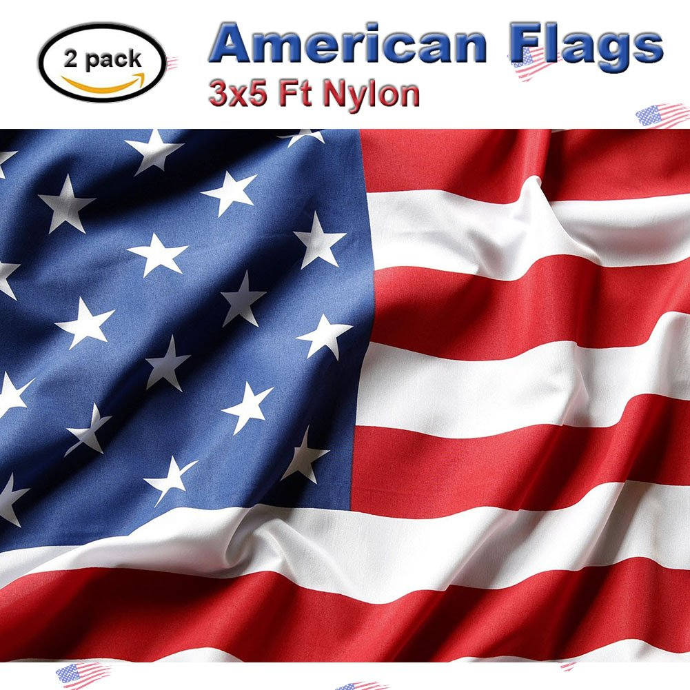 US Flag Store 2 Packs 3x5 Ft Nylon American Flags-Bright Color and Premium Material-Longest Lasting Banner for Outside