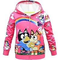Szytypyl Kids Girls Cute Cartoon Dog Zipper Sweatshirt Fashionable Patterned Cardigans Outerwear