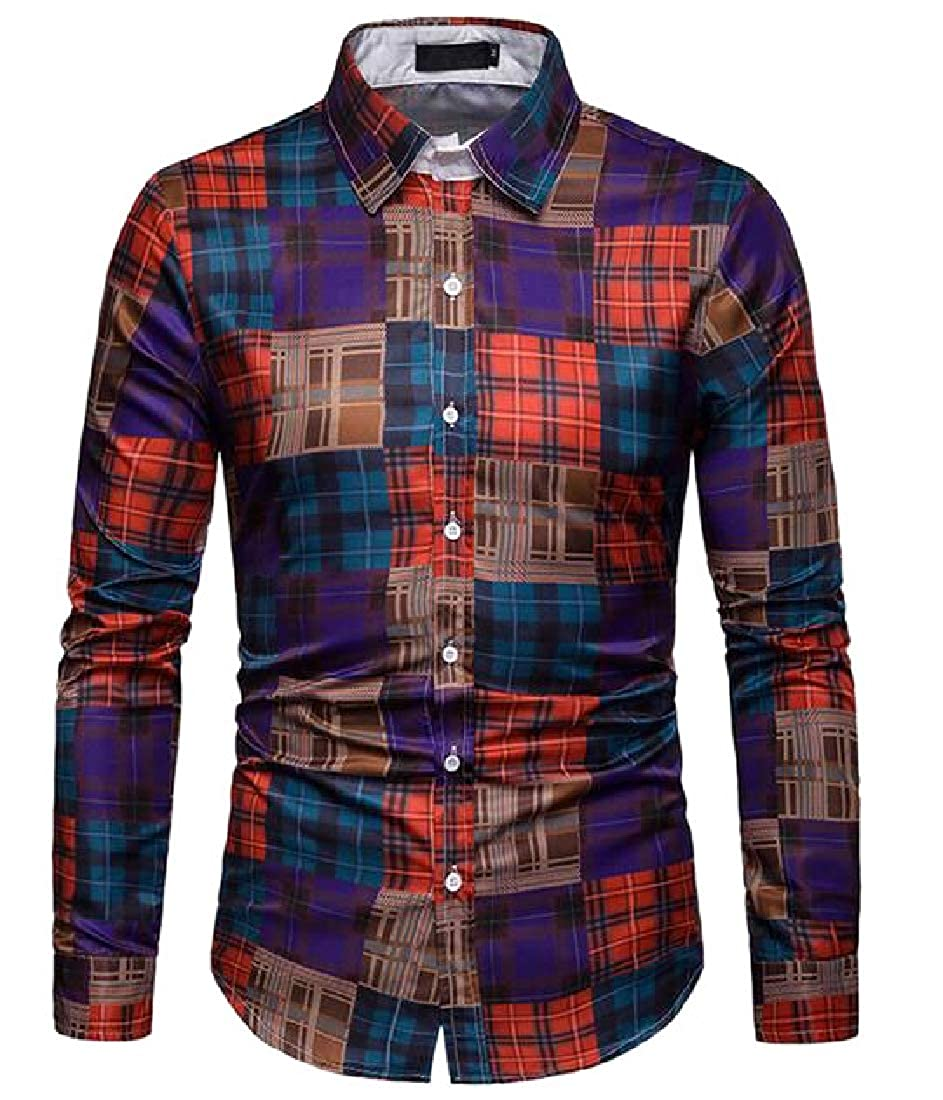 Xswsy XG Men Casual Cotton Checked Long-Sleeves Plaid Button Down Dress Shirts
