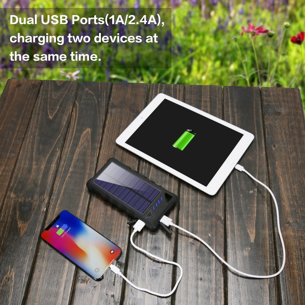 info for 88f89 8563e Solar Charger, FKANT 16000mAh Solar Phone Charger IPX7 Waterproof Portable  Solar Power Bank External Battery Pack Dual USB for iPhone and Other Smart  ...