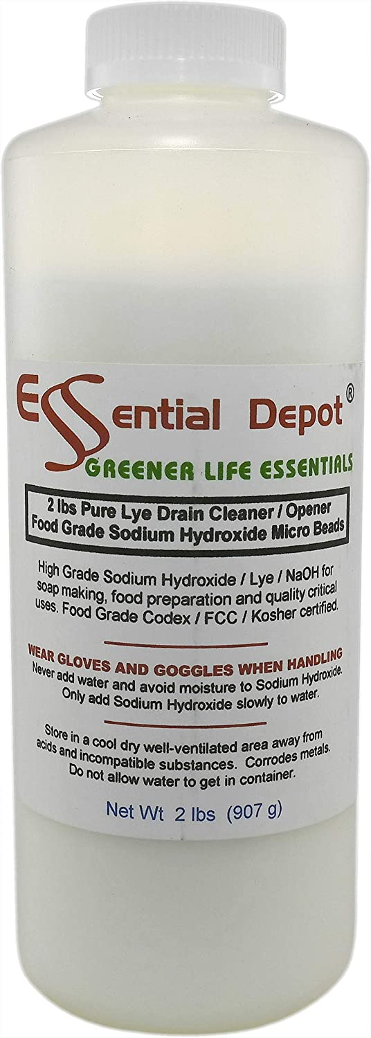 Essential Depot 2 lbs Food Grade Sodium Hydroxide Lye Evenly-Sized Micro Pels (Beads or Particles) - 1 x 2lb Bottle - Lye Drain Cleaner (U.S, Alaska, Hawaii, Puerto Rico, Territories, APO/FPO)
