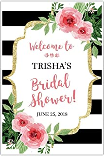 black and white striped floral welcome sign for bridal shower personalized poster