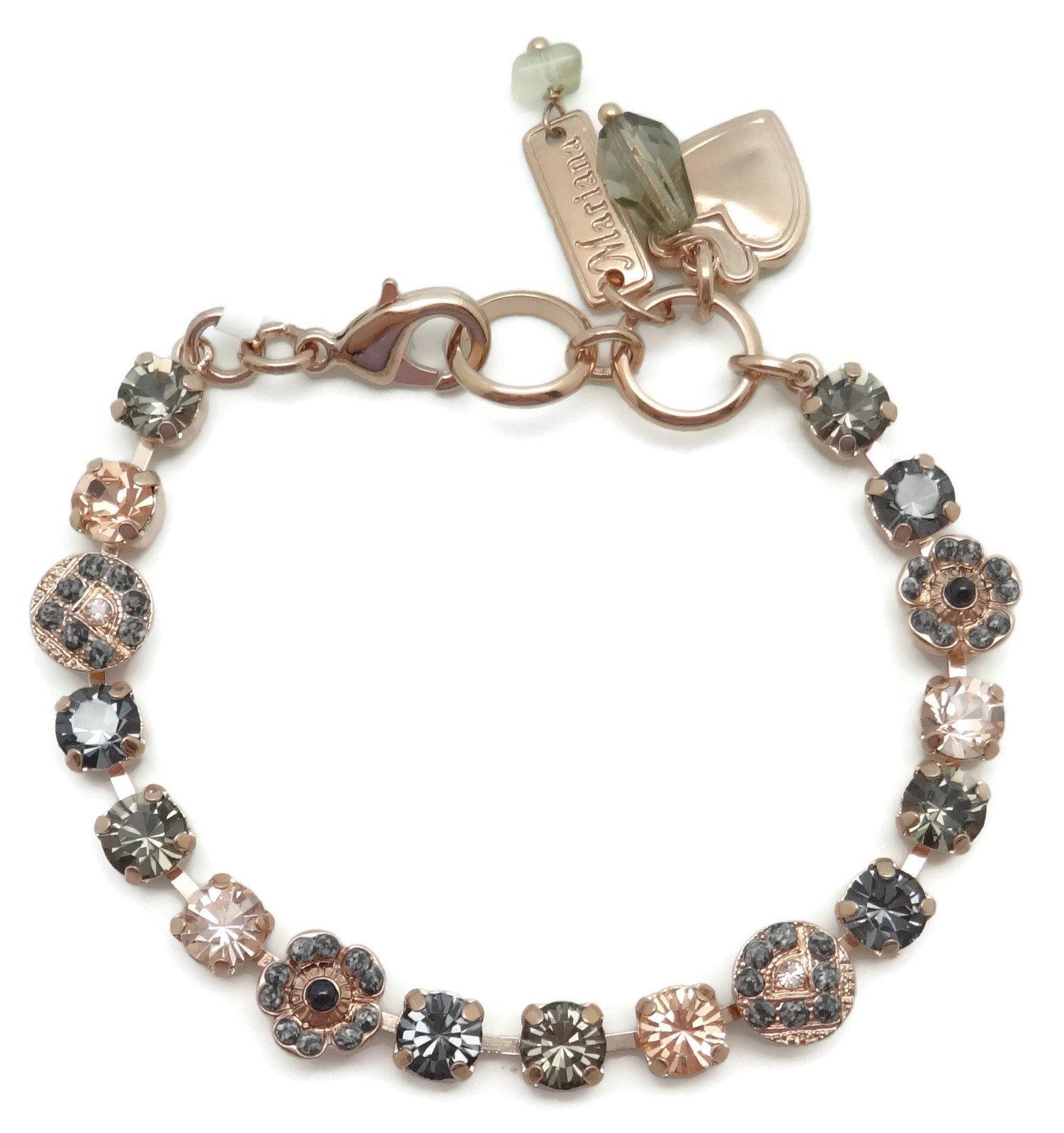 Mariana Swarovski Crystal Rose Gold Plated Bracelet Petite Peach Grey Black Mosaic 1035 Luxury