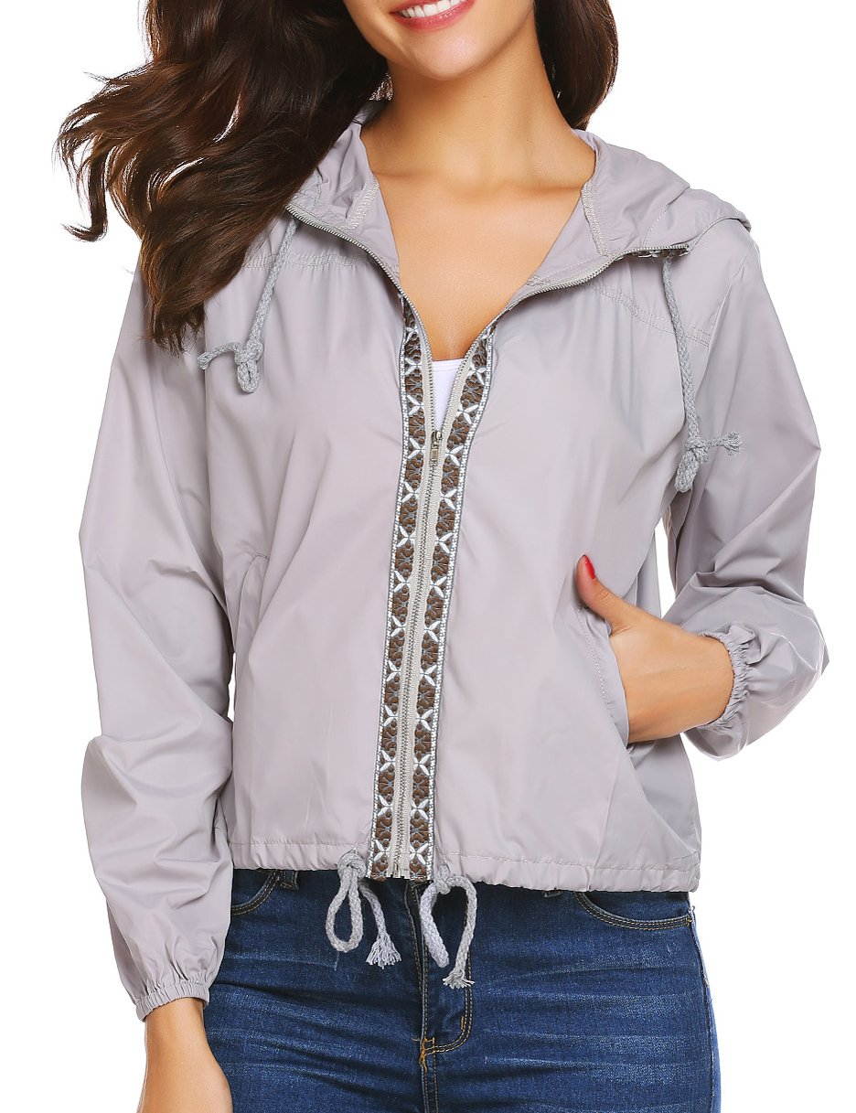 SE MIU Women's Lightweight Waterproof Coat Hooded Outdoor Sport Jacket Light Grey M