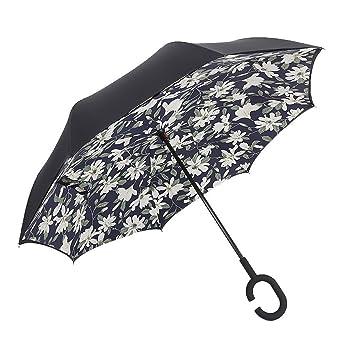 Paraguas invertido, Esther belleza viento doble capa paraguas de viaje Reverse Independiente del revés protección