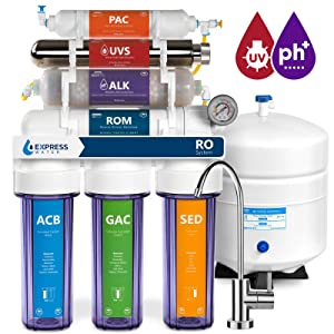 Express Water Alkaline Ultraviolet Reverse Osmosis Filtration System – 11 Stage RO UV Mineralizing Alkaline Purifier with Faucet and Tank – Mineral, pH + – 100 GDP with Pressure Gauge & Clear Housing