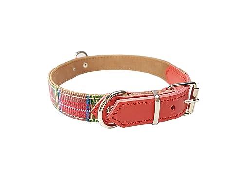 bcab64fcafd8 Bio Mordiscos Collar de Tela Escocesa Ajustable para Perros (L ...